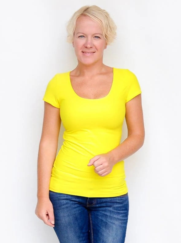 Basic Casual Scoop Neck Yellow Short Sleeve Casual Shirt - 3