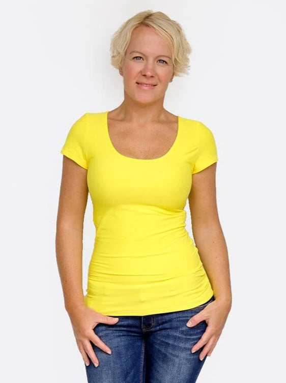 Basic Casual Scoop Neck Yellow Short Sleeve Casual Shirt - 7