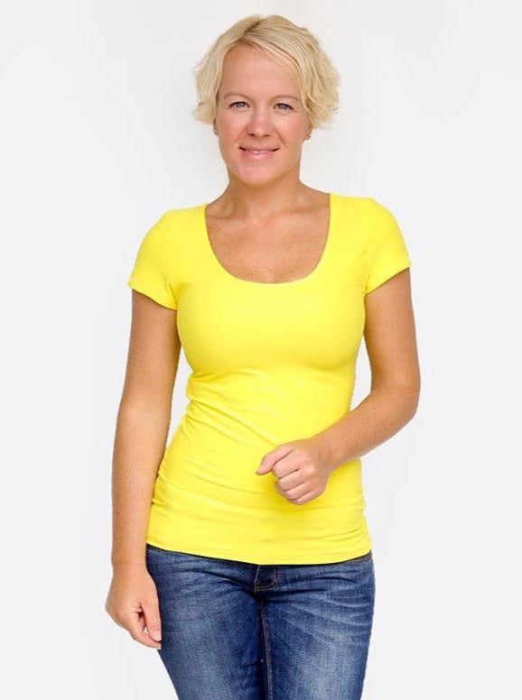 Basic Casual Scoop Neck Yellow Short Sleeve Casual Shirt - 8