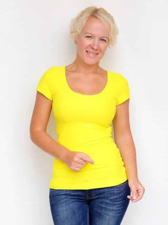Basic Casual Scoop Neck Yellow Short Sleeve Casual Shirt - 6