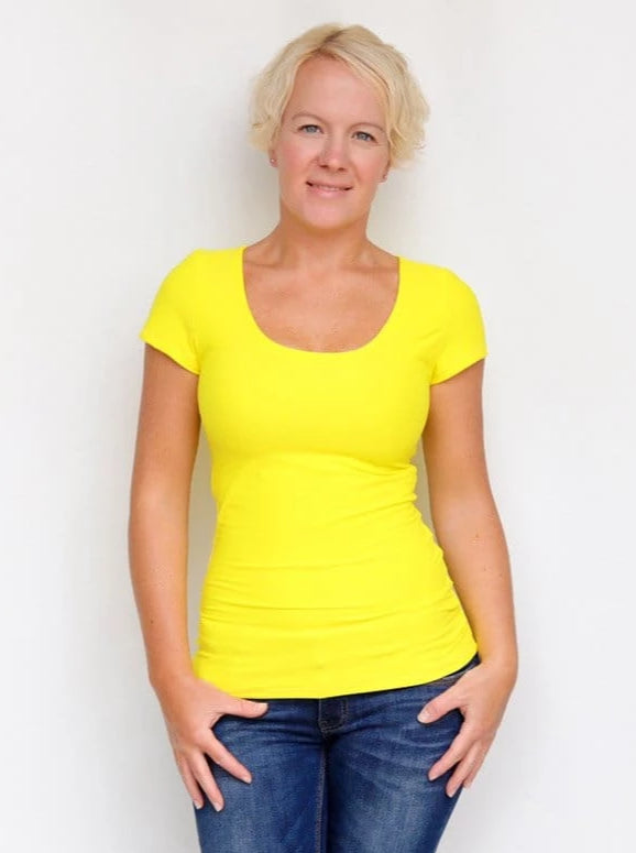 Basic Casual Scoop Neck Yellow Short Sleeve Casual Shirt - 5