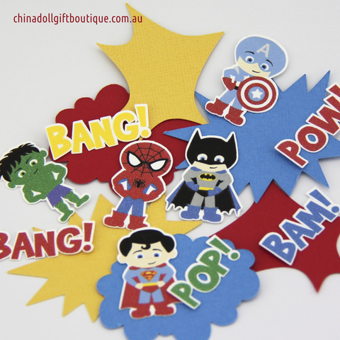 superhero cupcake toppers in progress