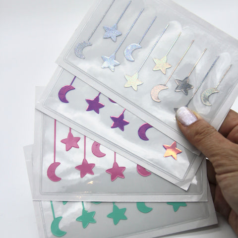 Self-adhesive sticky pocket - stars and moons | clear scalloped
