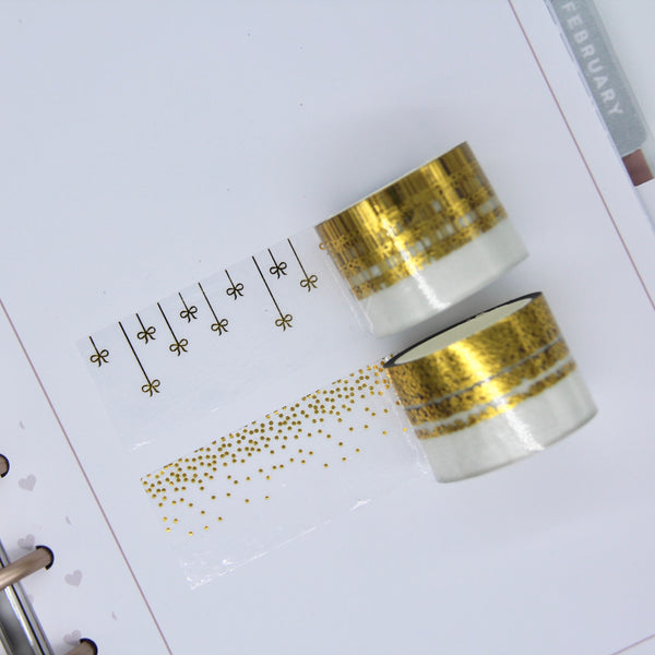 Foiled clear overlay tape - gold washi bundle