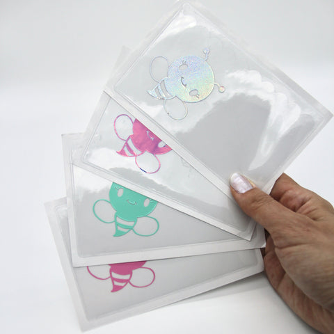 Self-adhesive sticky pocket - bee | clear scalloped