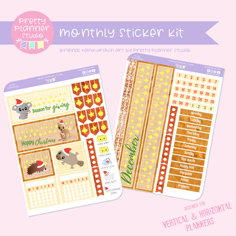 Aussie Christmas | monthly sticker kit | vertical or horizontal | AC-132