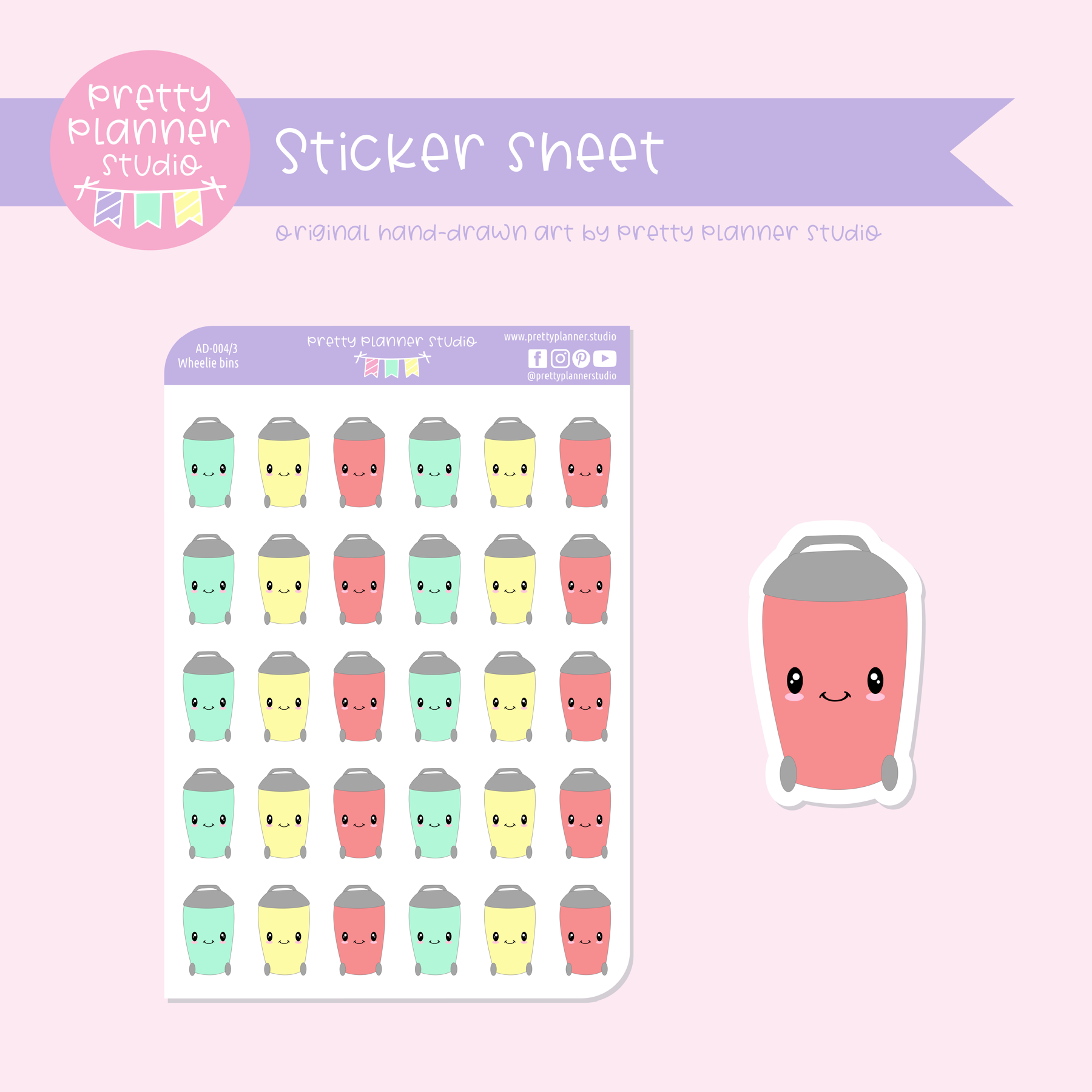 Adulting - wheelie bin | sticker sheet | AD-004/3