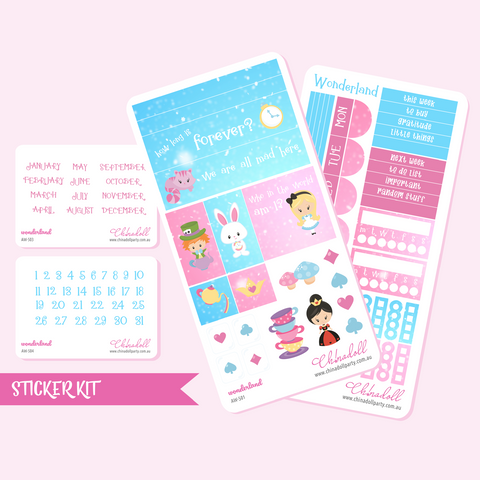 alice in wonderland | weekly sticker kit | hobonichi weeks | AW-501 to AW-504