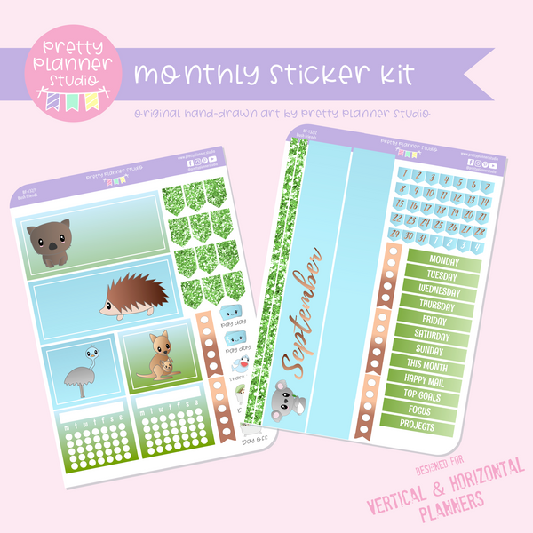 Bush friends | monthly sticker kit | vertical or horizontal | BF-132