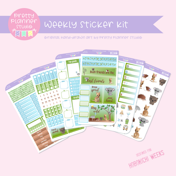 Bush friends | weekly sticker kit | Hobonichi Weeks | BF-211