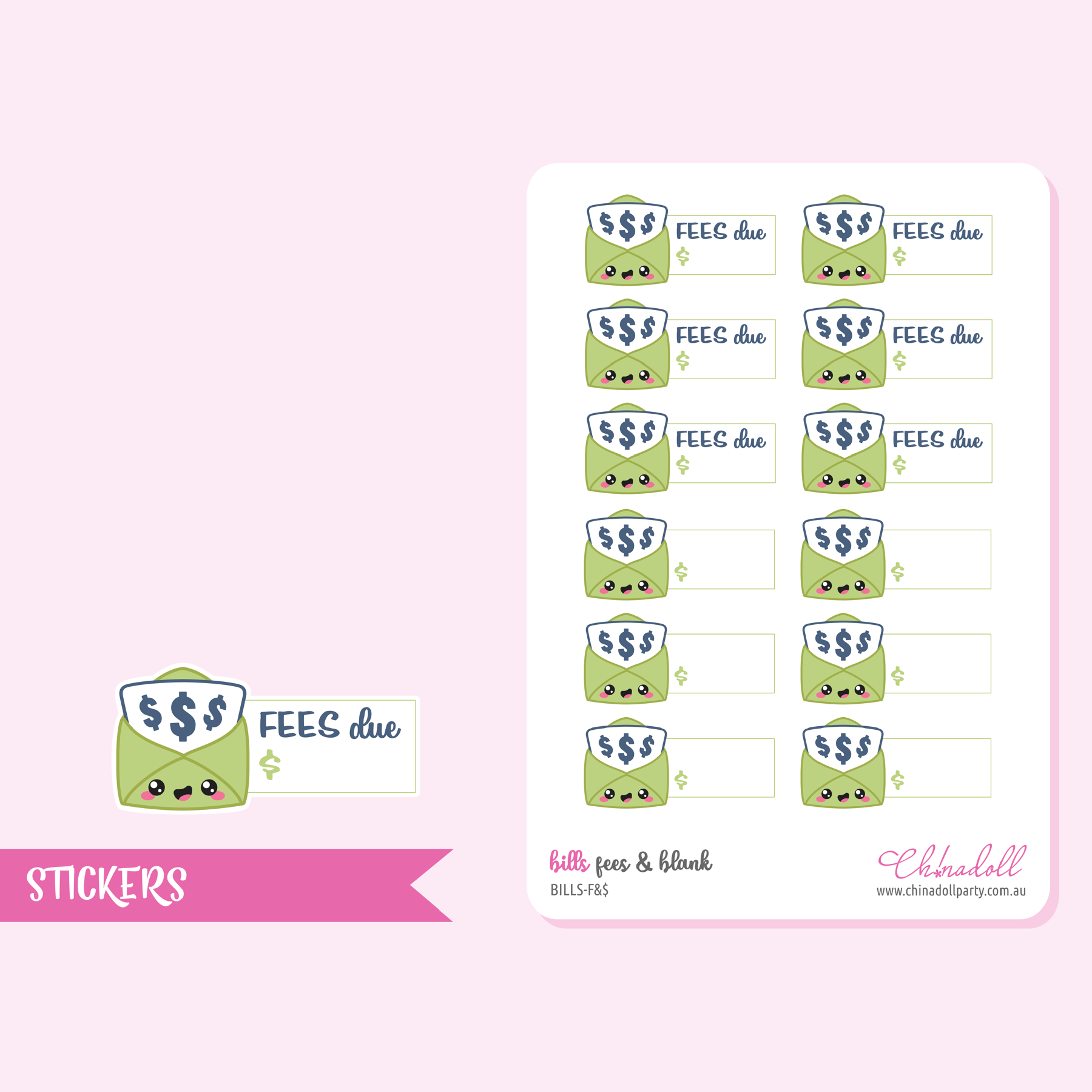 bills - fees and blank | sticker sheet | BILLS-F&$