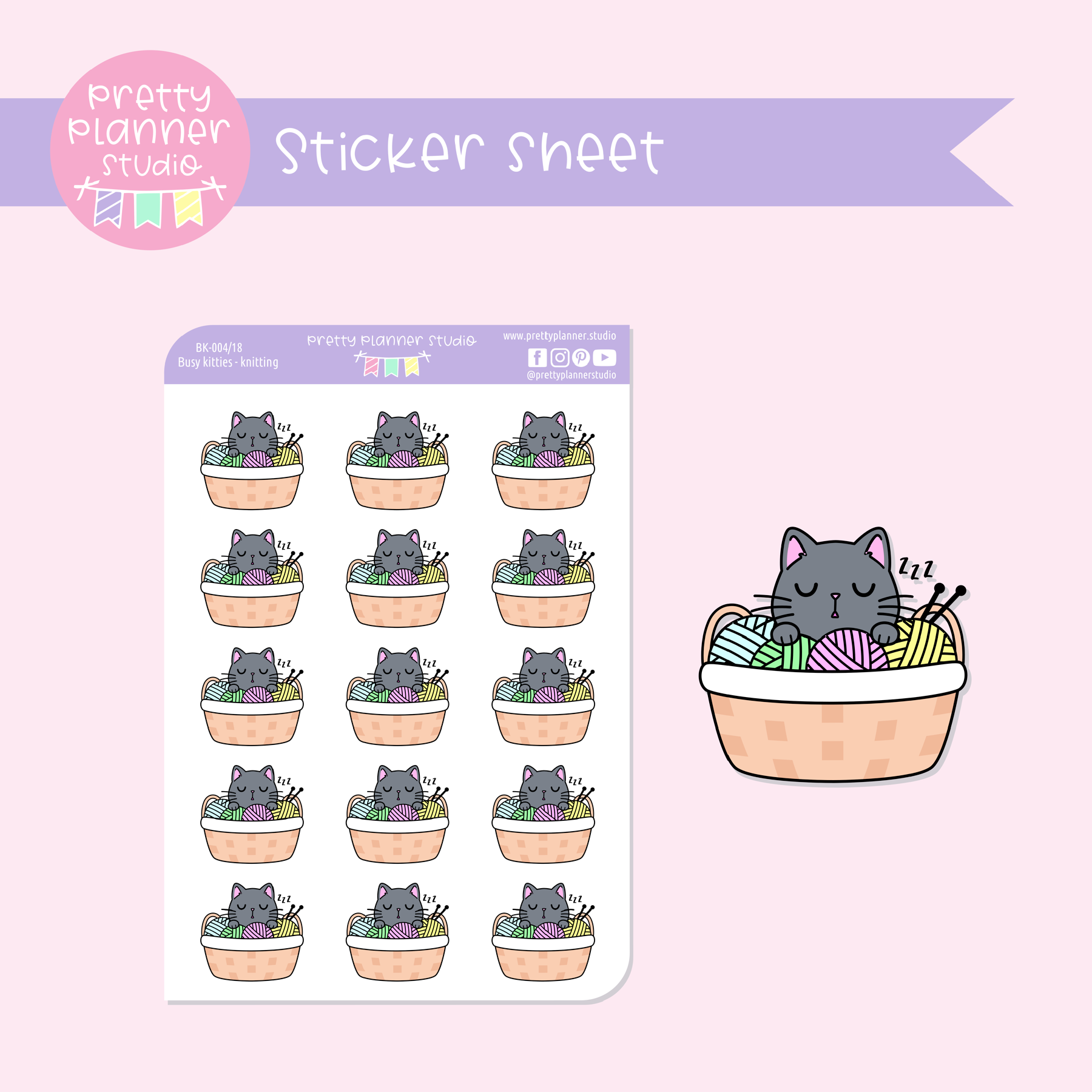 Busy kitties - knitting | sticker sheet | BK-004/18