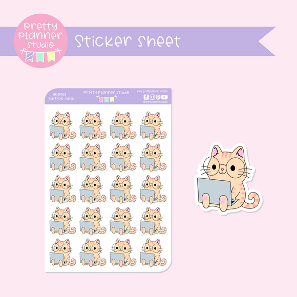 Busy kitties - laptop | sticker sheet | BK-004/28