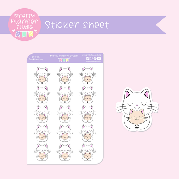 Busy kitties - hug | sticker sheet | BK-004/35