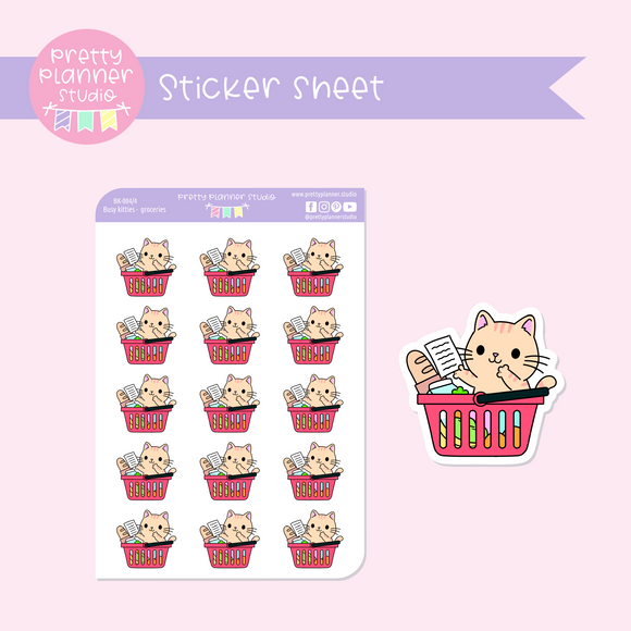 Busy kitties - groceries | sticker sheet | BK-004/4
