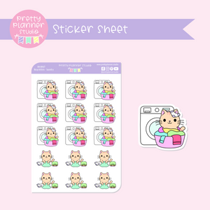 Busy kitties - laundry | sticker sheet | BK-004/7