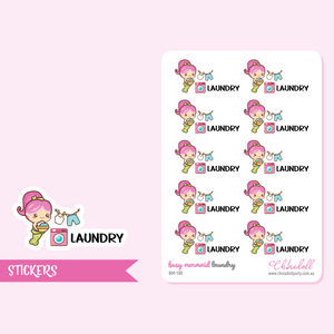 busy mermaid - laundry | sticker sheet | BM-108