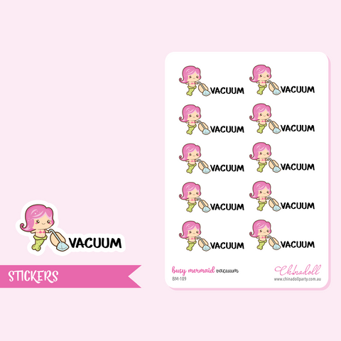 busy mermaid - vacuum | sticker sheet | BM-109