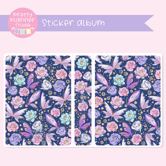 Butterfly wings - Navy floral | sticker album | BW-006/2