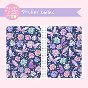 Butterfly wings - Navy floral | sticker book | BW-007/2