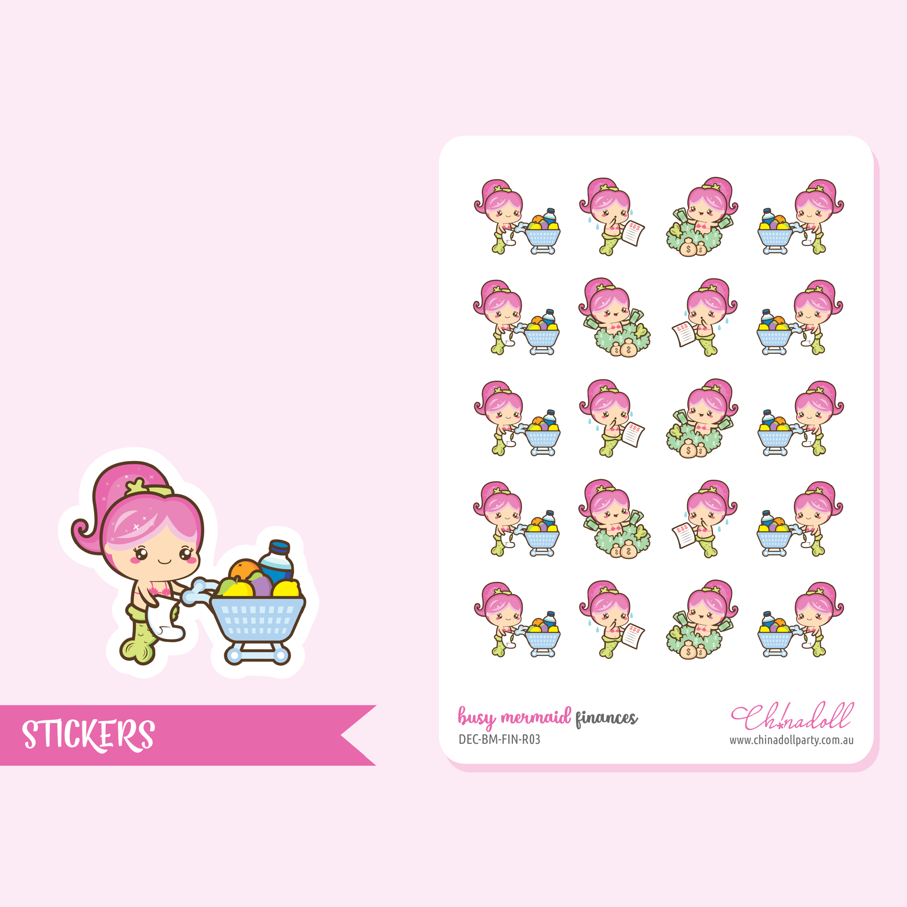 busy mermaid - finances | sticker sheet | BM-103
