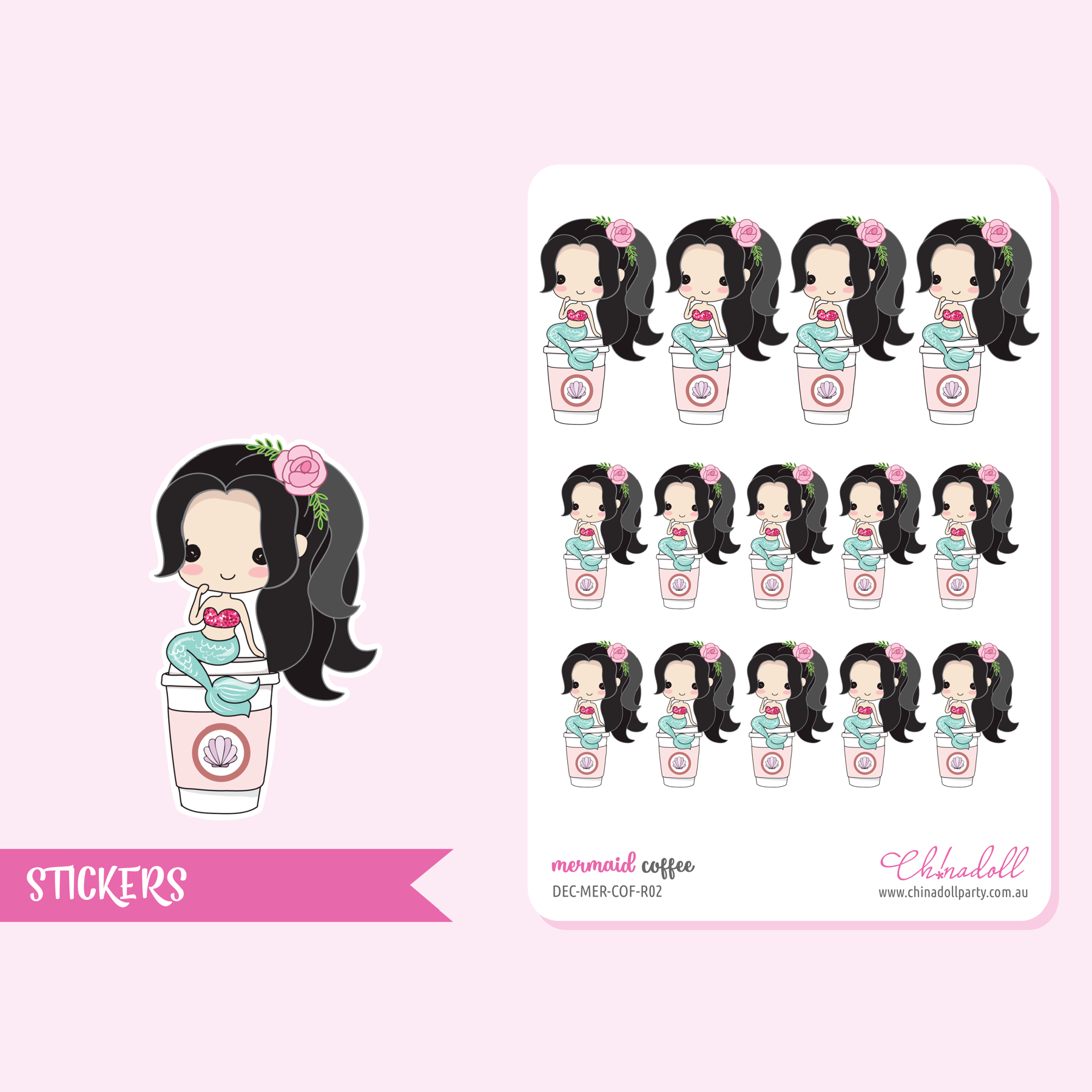 mermaid - coffee | sticker sheet | DEC-MER-COF-R02