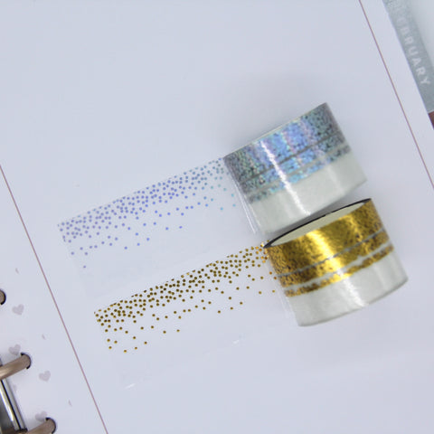 Foiled clear overlay tape - confetti washi
