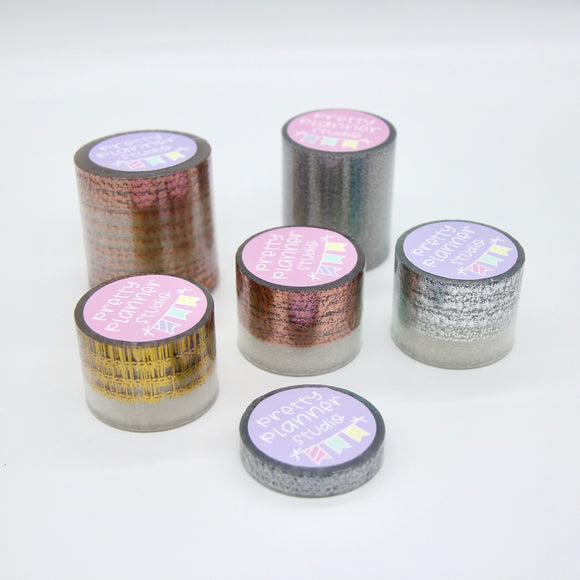 Foiled clear overlay tape - 6 roll mixed bundle