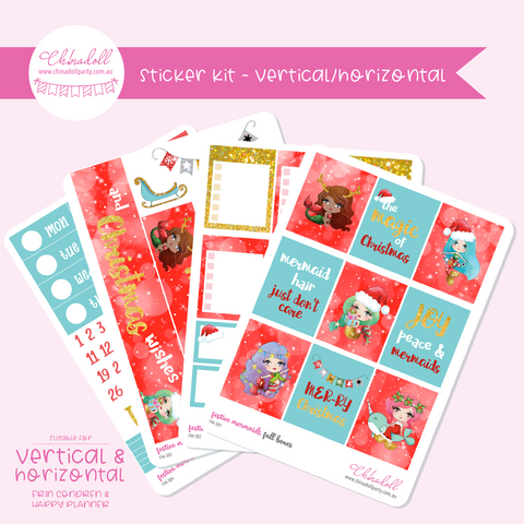 festive mermaids | weekly sticker kit | ECLP vertical & horizontal | FM-301 to FM-304