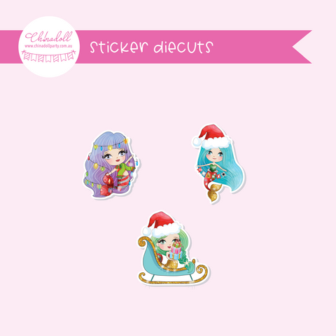 festive mermaids | sticker diecuts | FM-921 to FM-923