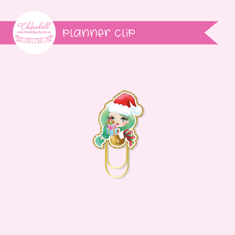 festive mermaids - gift giving | planner clip | FM-931