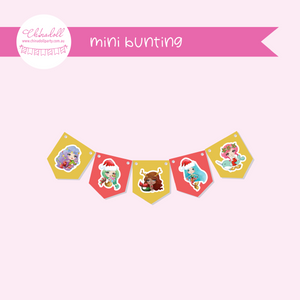 festive mermaids | mini bunting | FM-941