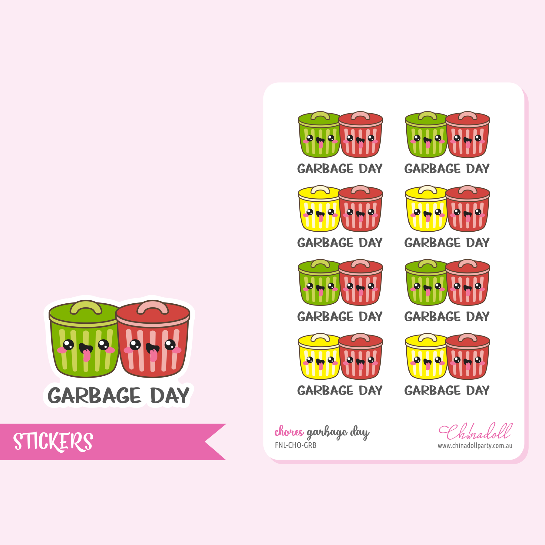 chores - garbage day | sticker sheet | FNL-CHO-GRB