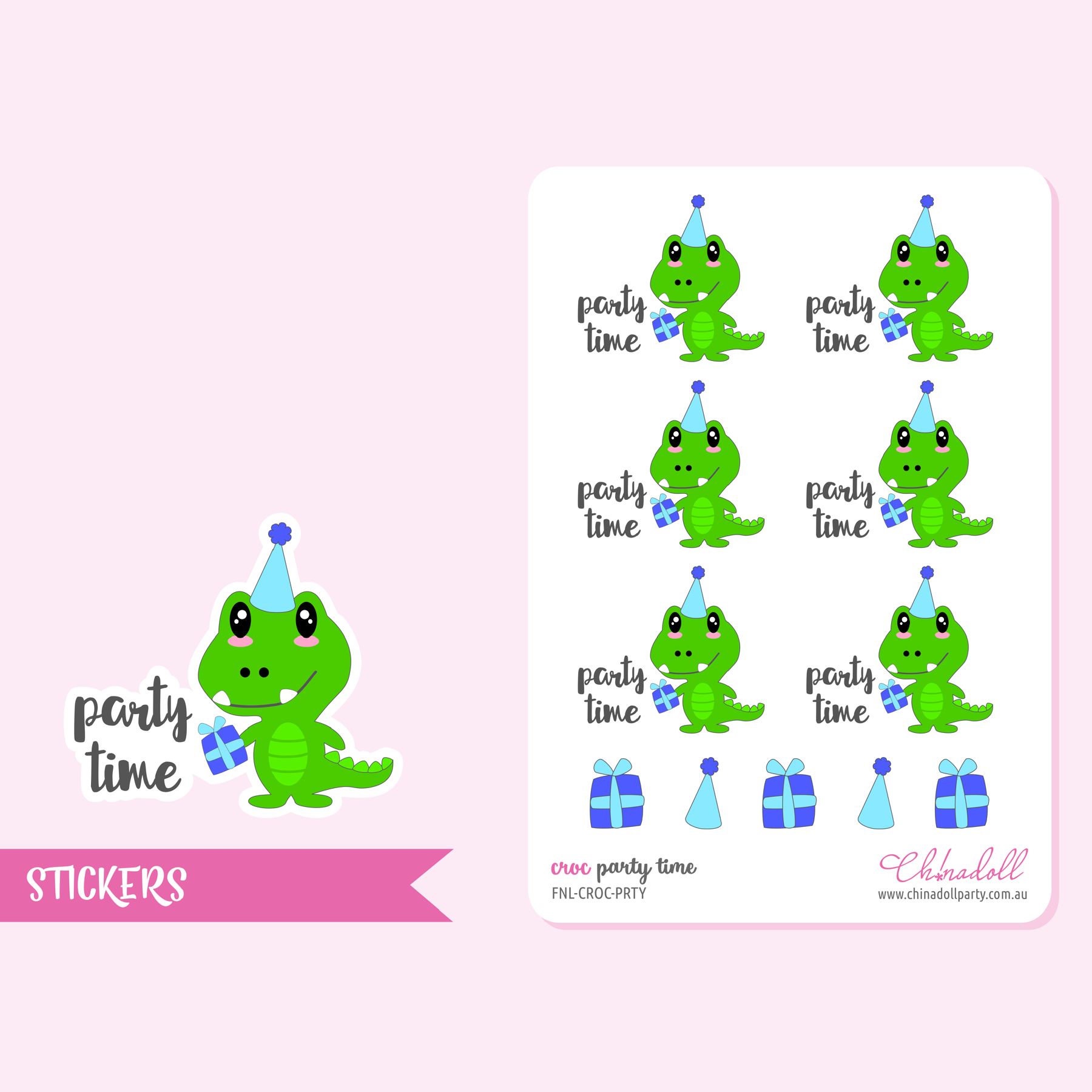 croc - party time | sticker sheet | FNL-CROC-PRTY