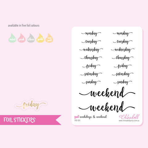 foil stickers - weekdays & weekend | clear sticker sheet | FO-101