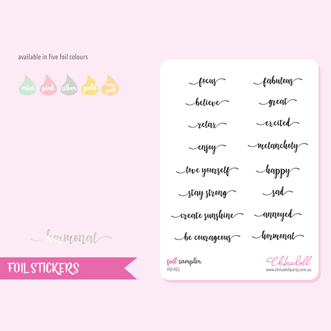 foil stickers - sampler | clear sticker sheet | FO-952
