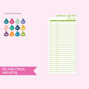full page - Hobonichi Weeks - christmas gift list | sticker sheet | FP-105