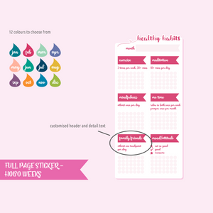 full page - Hobonichi Weeks - healthy habits | sticker sheet | FP-302