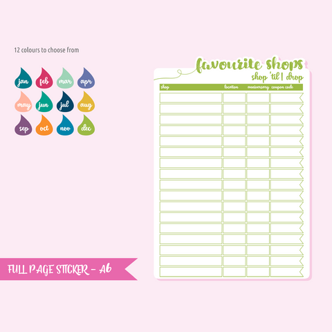 full page - TN or rings - favourite shops | sticker sheet | FP-101