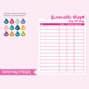 full page - Erin Condren - favourite shops | sticker sheet | FP-101