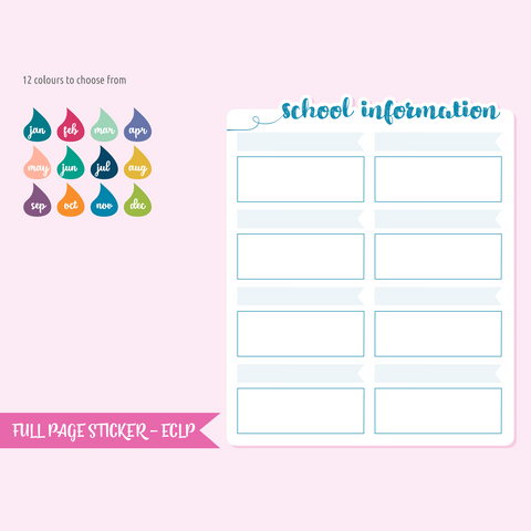 full page - The Happy Planner - school information | sticker sheet | FP-205