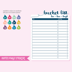 full page - TN or rings - bucket list | sticker sheet | FP-301