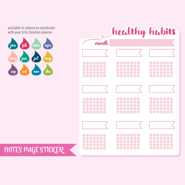 full page - TN or rings - healthy habits | pocket personal standard | sticker sheet | FP-302