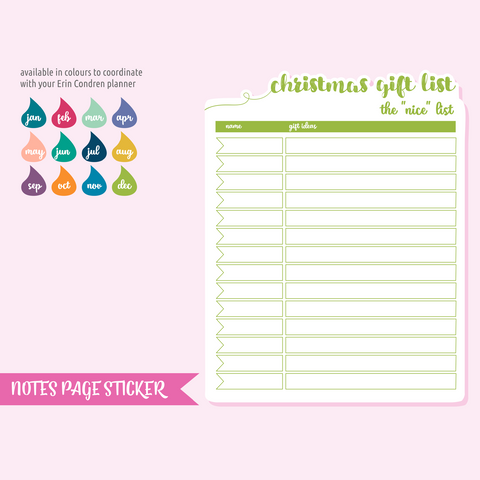 full page - TN or rings - christmas gift list | sticker sheet | FP-105