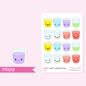 health and beauty - mood tracker - emotional cups | sticker sheet | HB-102