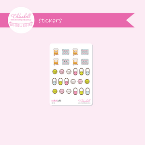 health and beauty - medical - pills | sticker sheet | HB-105