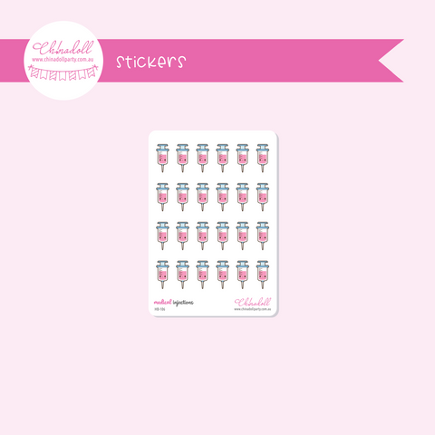 health and beauty - medical - injection | sticker sheet | HB-106