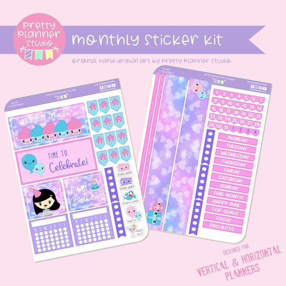 It's my birthday II | monthly sticker kit | vertical or horizontal | IB-132