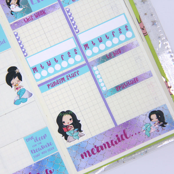 mermaid life - be a mermaid weekly sticker kit | hobonichi weeks | ML-501 and ML-502