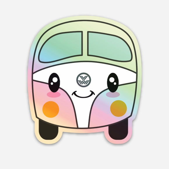 Happy campers - Kombi | holographic vinyl sticker diecut | VS-009/2